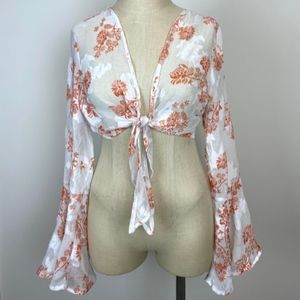 Charlotte Russe Tie Front Floral Long Flare Top